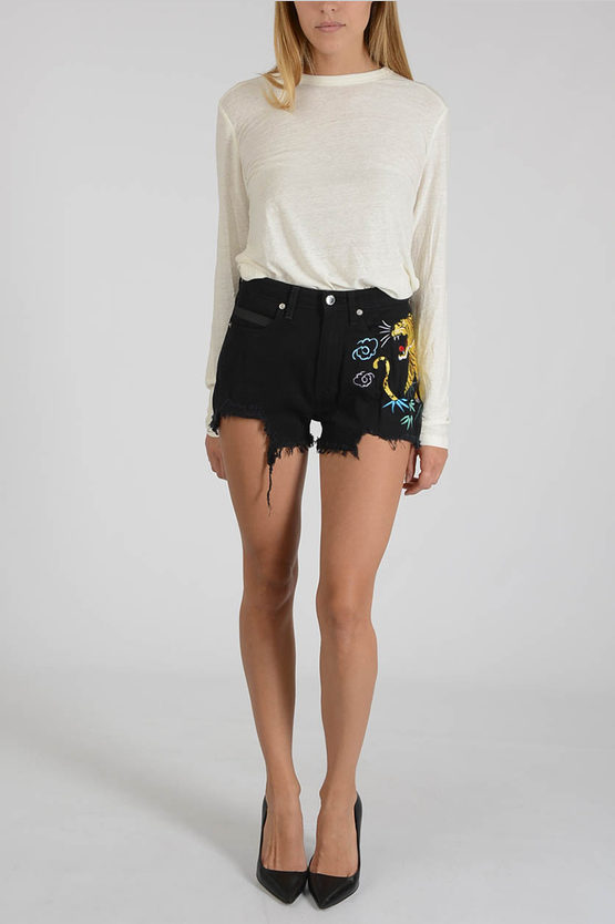 Tiger Embroidered Shorts