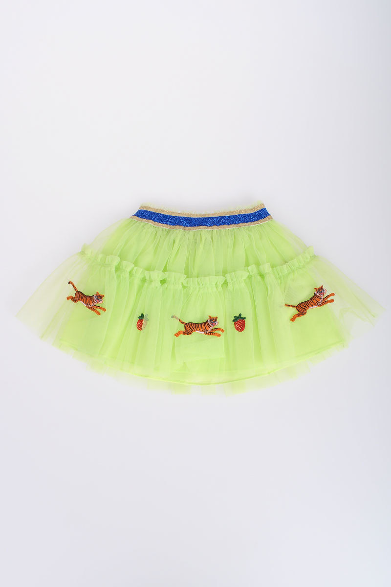 6cbf18ddb Gucci Kids Tiger Strawberry Embroidery Tulle Mini Skirt girls ...