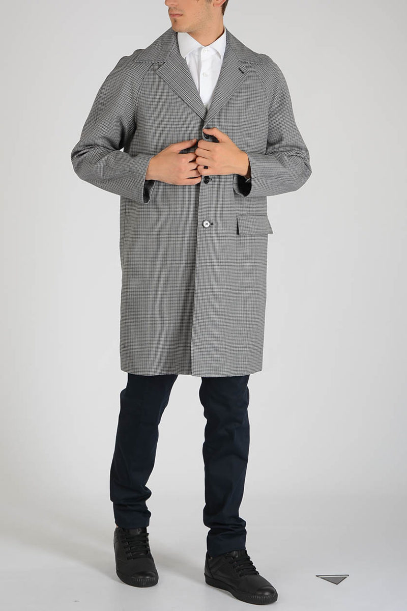 c6f15997442 Raf Simons Virgin Wool Checked Coat men - Glamood Outlet