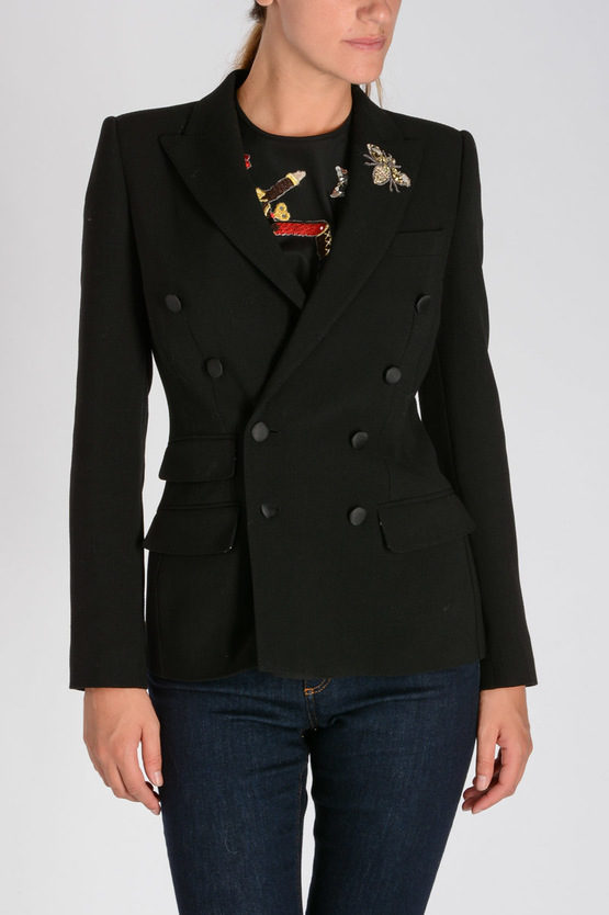 Virgin Wool Stretch Blazer With Embroidery
