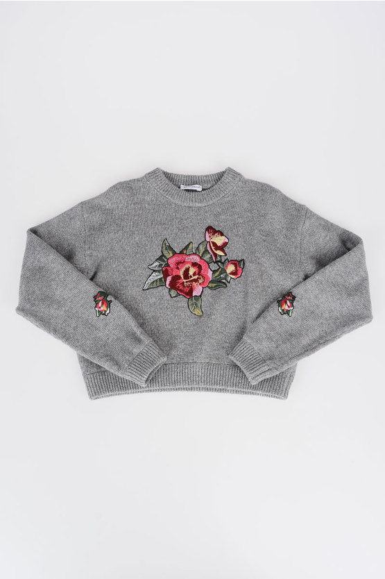Wool Sweater Flowers Embroidery