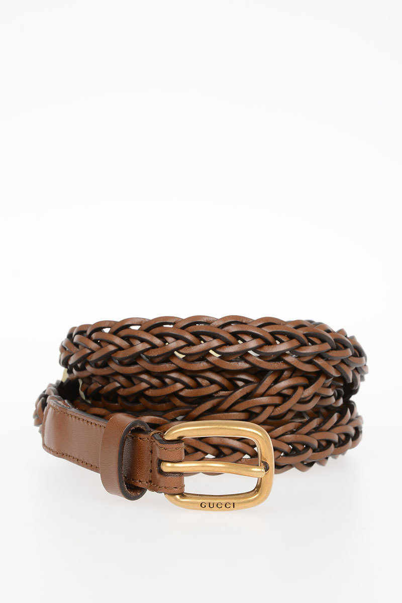 c33201ab877 Gucci Woven Leather Belt 20 mm women - Glamood Outlet